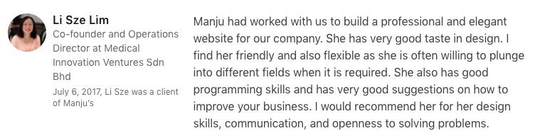 freelancer web design and development Malaysia testimonial
